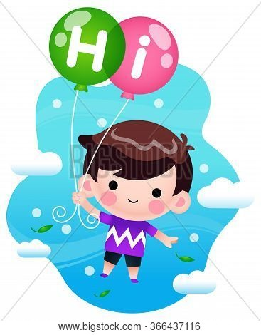 Illustration Vector Graphic Of Cartoon Little Boy Flying With Balloons. Perfect For Children Book Co