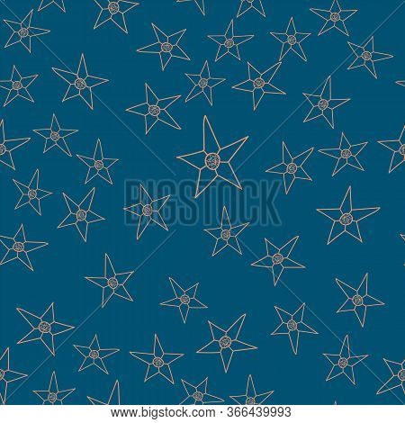 This Pattern Is Hand Drawn From The Stars In The Blue Night Sky.