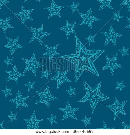 These Five-pointed Stars Are Hand-drawn And Fill The Pattern Seamlessly.