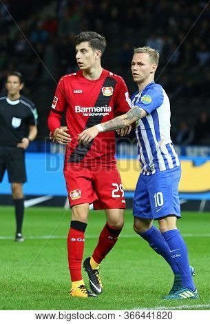 Berlin, Germany - September 20, 2017: Kai Havertz Of Bayer 04 Leverkusen And Ondrej Duda Of Hertha B