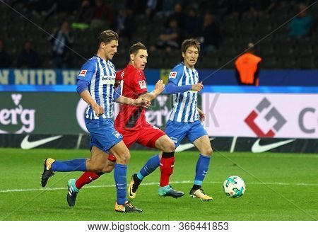 Berlin, Germany - September 20, 2017: Hertha Bsc Berlin (in Blue) And Bayer 04 Leverkusen (in Red) P