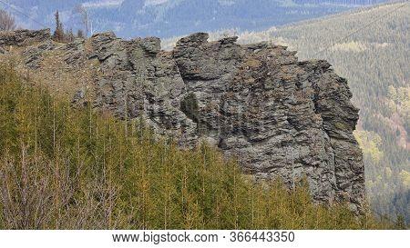 Dominant Rock In A Forest With Trees In The Foreground And Hills In The Background, Sokoli Skala, Je
