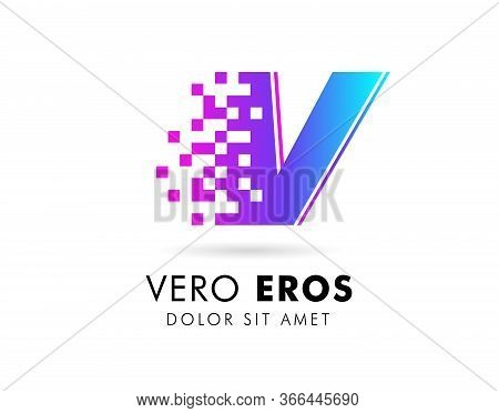 Letter V Logo Design Template. Letter V Logo In Pixel Motion Style With Gradient Color.