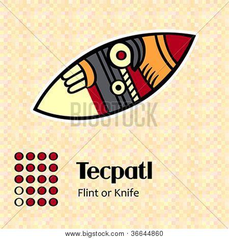 Aztec calendar symbols - Tecpatl or knife (18)