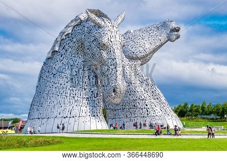 FALKIRK,SCOTLAND - AUGUST 15,2019 : The Kelpies monument at The Helix park near Falkirk in Scotland - Famous scottish landmark