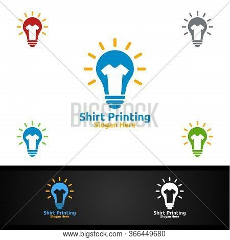 Idea T Shirt Printing Company Vector Logo Design For Laundry, T Shirt Shop, Retail, Advertising, Or