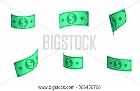 Dollar Paper Notes Soar In The Air. Us Money In Various Positions Isolated On A White Background
