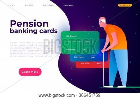Pension Banking Plastic Debit Cards. Banking Card For Elderly People. Grandfather With Debit Card.