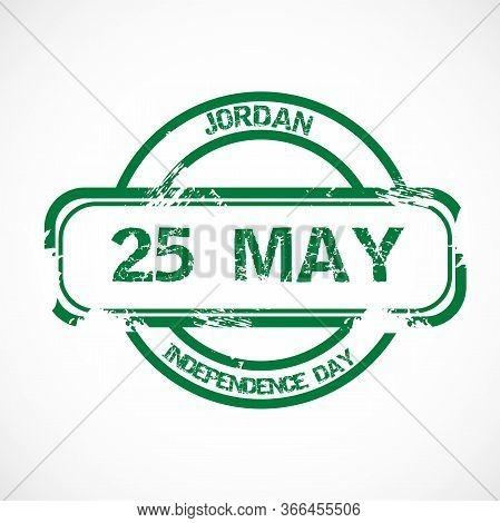 Illustration Of A Stamp For Jordan Independence Day.