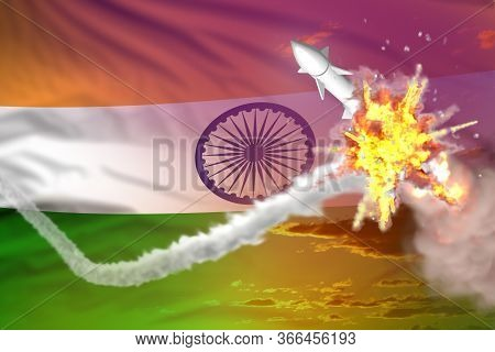India Intercepted Nuclear Missile, Modern Antirocket Destroys Enemy Missile Concept, Military Indust