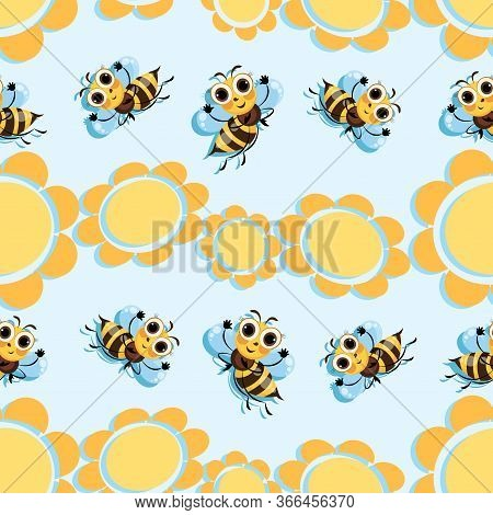 Flowers. Bee Meadow. Swarm Bees Fly Among The Flowers. Background, Seamless Pattern With Cute Cartoo