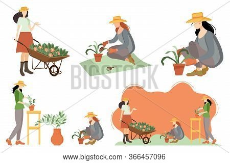 Seth Women In The Garden. Gardening. Gardener With A Cart And Flowers, Grows Indoor Plants, Plants F