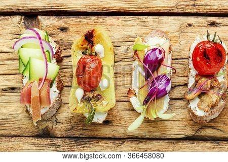 Assortment Of Vegetable Bruschettas