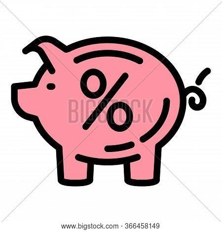 Percent Deposit Piggy Bank Icon. Outline Percent Deposit Piggy Bank Vector Icon For Web Design Isola