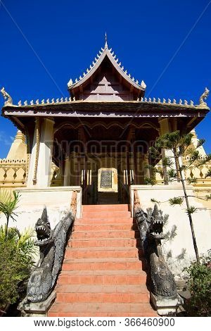 Beautiful Lao Temple With Fresh Blue Sky