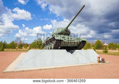 Kirovsk, Russia - April 26, 2020: Tank-monument T-34-85 On Nevskiy Patch On An April Afternoon. Leni