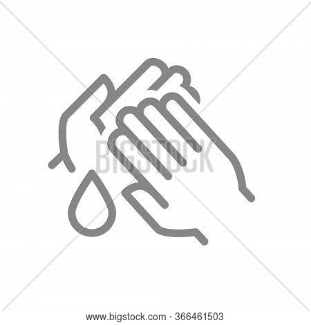Cleaning Hands With Disinfectant Drop Line Icon. Hand Disinfection, Hygiene Symbol