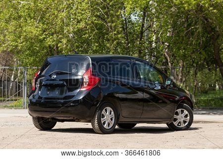 Novosibirsk/ Russia - May 03 2020: Black Nissan Note,  Back View.  Modern Hatchback Made In Japan On