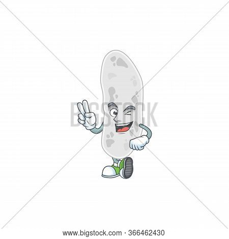 Smiling Gemmatimonadetes Cartoon Mascot Style With Two Fingers
