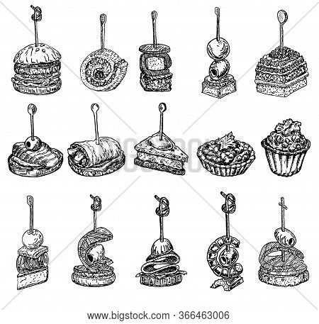 Finger Food Sketch. Tapas Vector Drawings Illustration. Tapas And Canapes Sketch Set. Food Appetizer