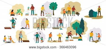 People Gardening. Woman Planting Gardens Flowers, Agriculture Gardener Hobby And Garden Job. Gardeni