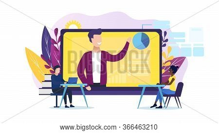 Webinar Concept And Online Learning. The Tutor Remotely Presents The Subject. A Group Of Listeners A