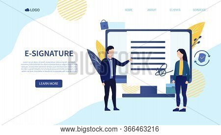 Two Entrepreneurs Sign An E-signature Contract. Businessmen Make Successful Deal The Concept Of A Se