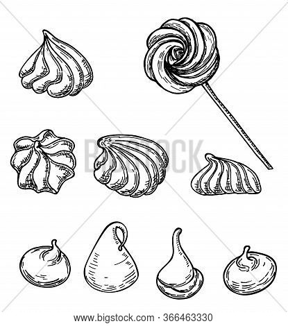 Meringue Cookies Sketch Isolated On White Background. French Dessert Meringue. French Pastries . Foo