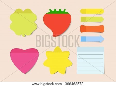 Post Note Stickers. Sticky Notes Vector Illustrations Set. Notepad Blank Paper Sheet For Planning An