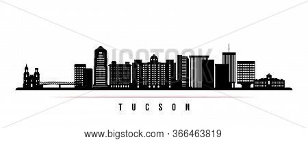 Tucson Skyline Horizontal Banner. Black And White Silhouette Of Tucson, Arizona. Vector Template For