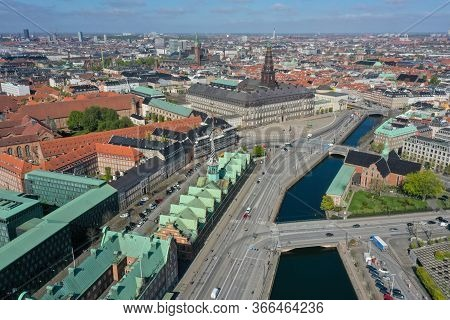 Copenhagen, Denmark - May 07, 2020: Aerial Drone View Of Christiansborg Palace And The Former Stock
