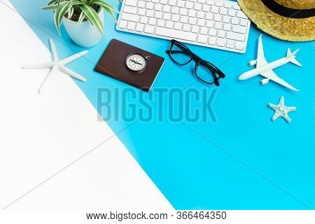 Accessories Of Traveler On Blue And White Background With Copy Space, Travel Concept, Overhead View