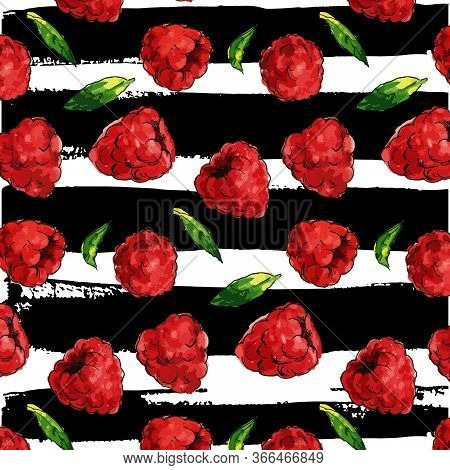 Seamless Watercolor Pattern With Funny Raspberries On The White Background, Aquarelle. Vector Illust