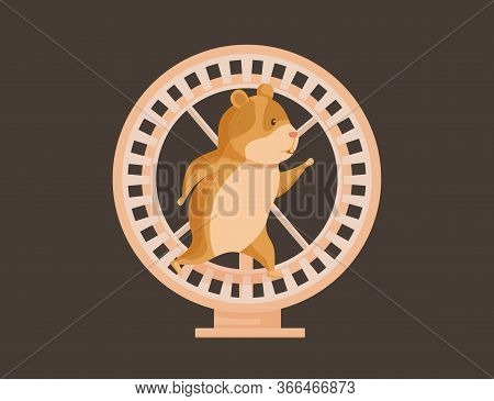 Hamster Running In Wheel. Cute Rodent Walking