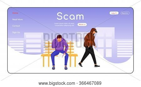 Scam Landing Page Flat Color Vector Template. Blackmailing Victim. Criminal Demanding Payment. Dange