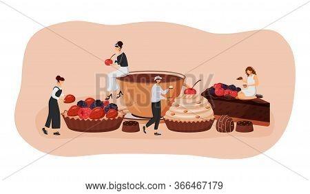 Patisserie Flat Concept Vector Illustration. Strawberry And Raspberry Tart. Chocolate Cake Slice. Ca