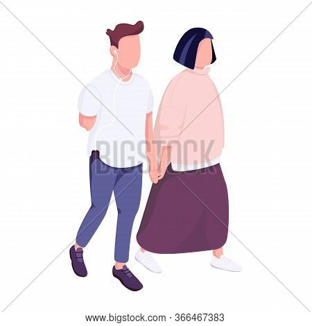 Man With Disability And Woman Walking Together Flat Color Vector Faceless Character. Guy With Missin