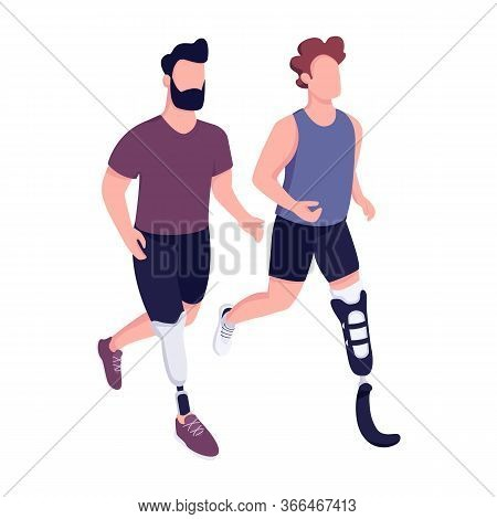 Disabled Sportsmen Race Flat Color Vector Faceless Character. Handicapped Runners Marathon, People W