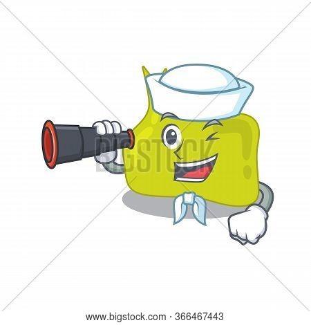 A Cartoon Picture Of Pituitary Sailor Using Binocular