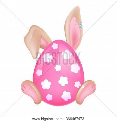 Cute Easter Bunny Hidden Behind Pink Egg Kawaii Cartoon Vector Character. Adorable And Funny Animal