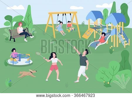 Children Playground Flat Color Vector Illustration. Kids On Carousel, Slide And Swing, People Playin