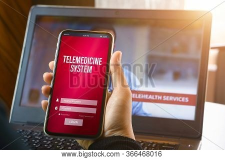 Telemedicine Online Application Background Concept. Mockup Mobile Phone, A Person Holding Smartphone