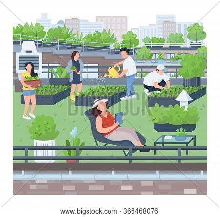 Landscaping Flat Color Vector Illustration. Urban Gardening, Agriculture, Building Roof Greening. Pe