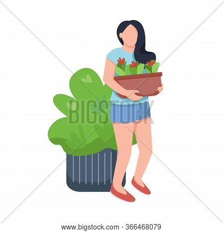 Young Woman With Flowers, Female And Flowerbed Flat Color Vector Faceless Character. Plants Care, Fl