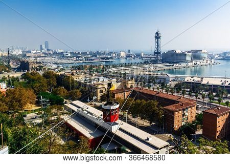 Barcelona, Spain - October 10 2012: Aerial Cityscape Of Barcelona - View From The Port Cable Car.