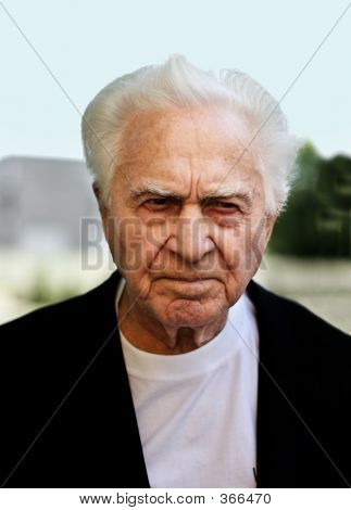 unhappy old man frowning poster
