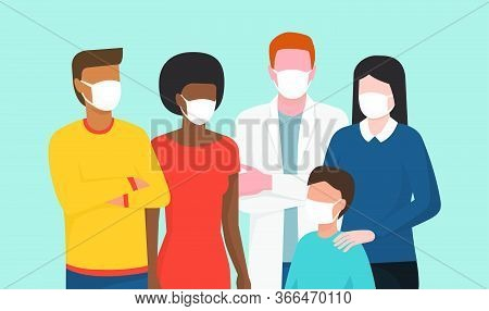 Group Of People Wearing Surgical Masks And Standing Together, Coronavirus Covid-20119 Prevention And