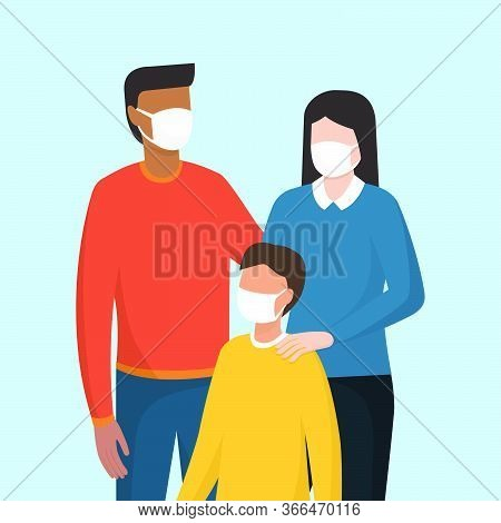 Family Wearing A Protective Face Mask, Coronavirus Covid-19 Prevention