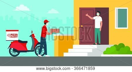Safe Pizza Delivery At Home During Coronavirus Covid-19 Epidemic: Delivery Man Bringing A Pile Of Pi