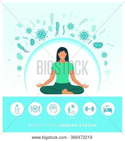 Woman Boosting Her Immune System Naturally And Defeating Viruses, She Is Following A Healthy Lifesty